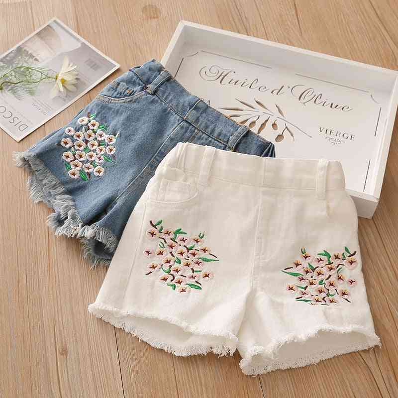 Elastic Waist Kids Baby Embroidery Floral Denim Short