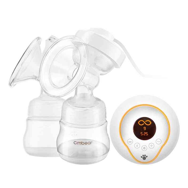Double Electric Breast Pump, Led Display Massage Breast Pump, With Free Milk Bottle (clear)