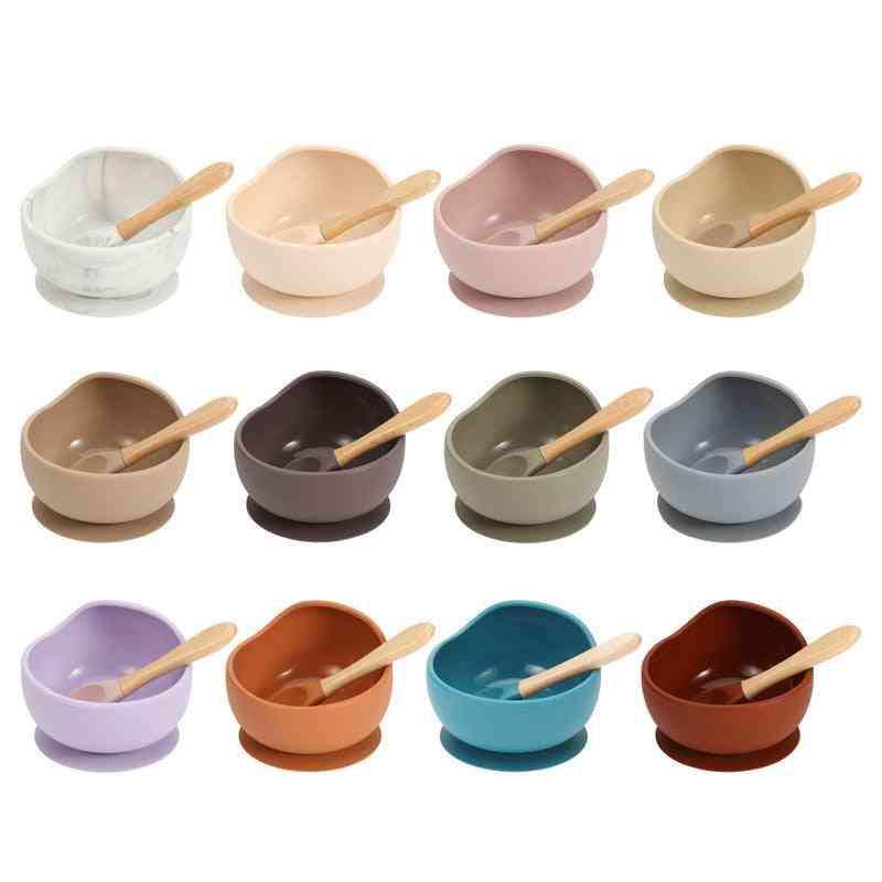 Baby Silicone Dinnerware Silicone Feeding Set Soft Cups Wooden Suction Food Grade Tableware