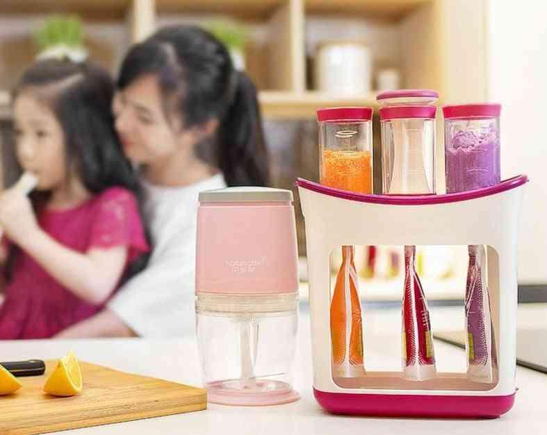 Children's Puree Squeezer Home Fruit Splitter Fruit Dispenser Baby Food Mills With Food Storage Bag (full Set)