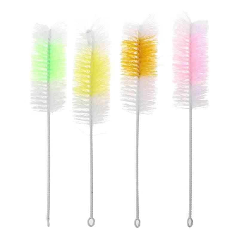 Baby Nipple Bottle Brush 360 Degree Cleaner 30cm Nylon Cleaning Brushes (random Color 2 Pcs)