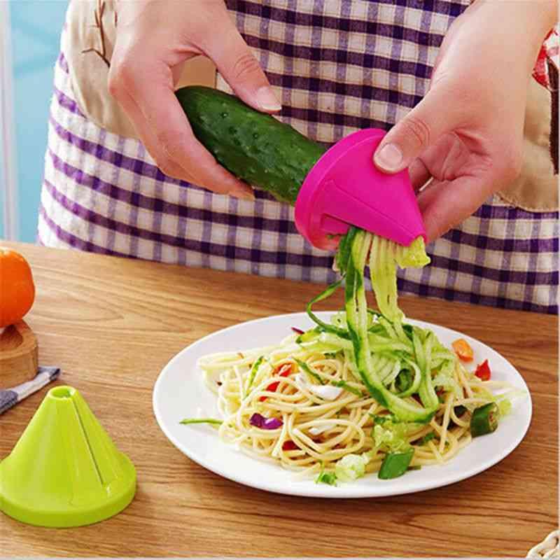 1x Vegetable Spiral Slicer Fruit Cutter Peeler For Kitchen Tool (random Colour)