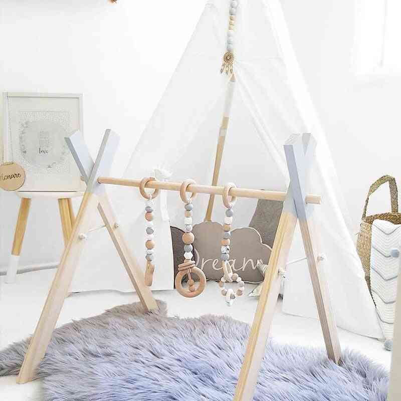 Baby Gym Wooden Frame Ring-pull Star, Bell Unicorn Toy, Infant Room, Toddler Kids, Home Decor