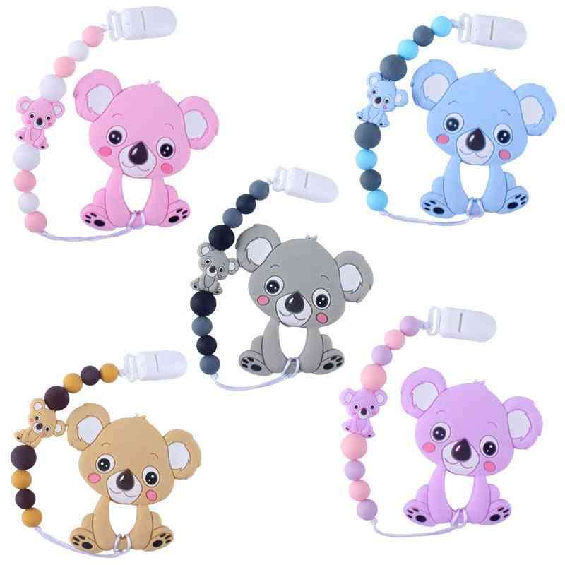 Baby Teethers, Animal Silicone Beads, Food Grade, Pendant Pacifier Clip Chain, Teething, Chewable Nursing