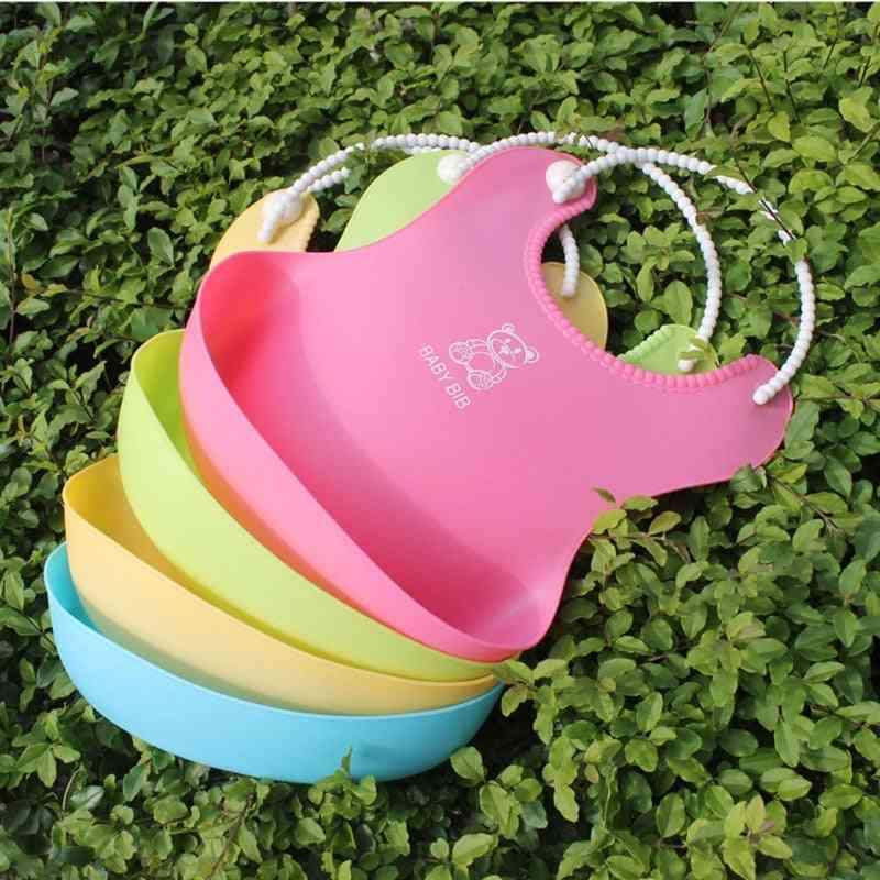 Baby Infant Waterproof Silicone Bib Infants Feeding Lunch Roll-up Apron