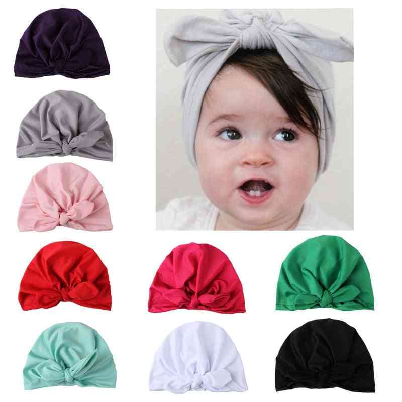 Baby Solid Turban A Headscarf  Elastic Caps For