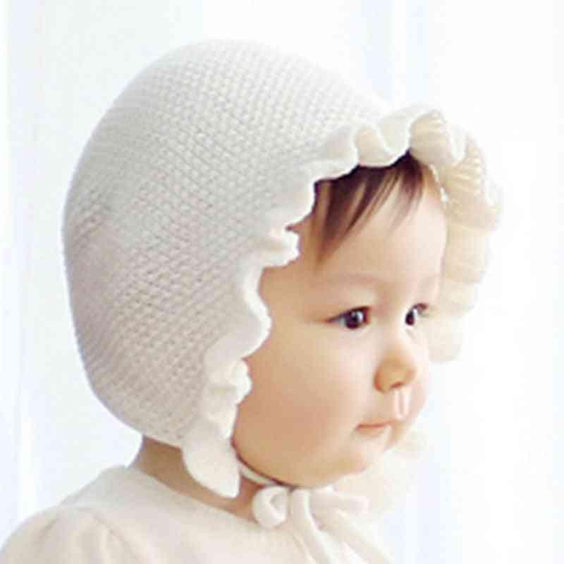 Baby Hats Handmade Wool Ear Knitting Hats Lotus Leaf Yarn Warmer Caps Kids New Unisex