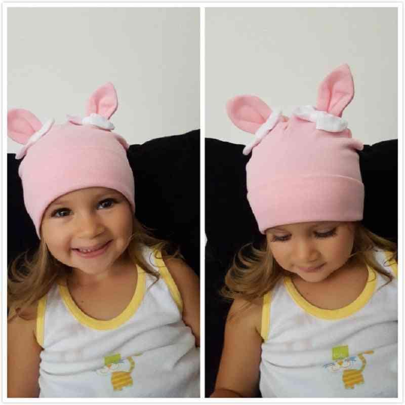 Winter Toddler Rabbit Bow Cotton, Beanie Hat Cartoon, Baby Hats Bonnet