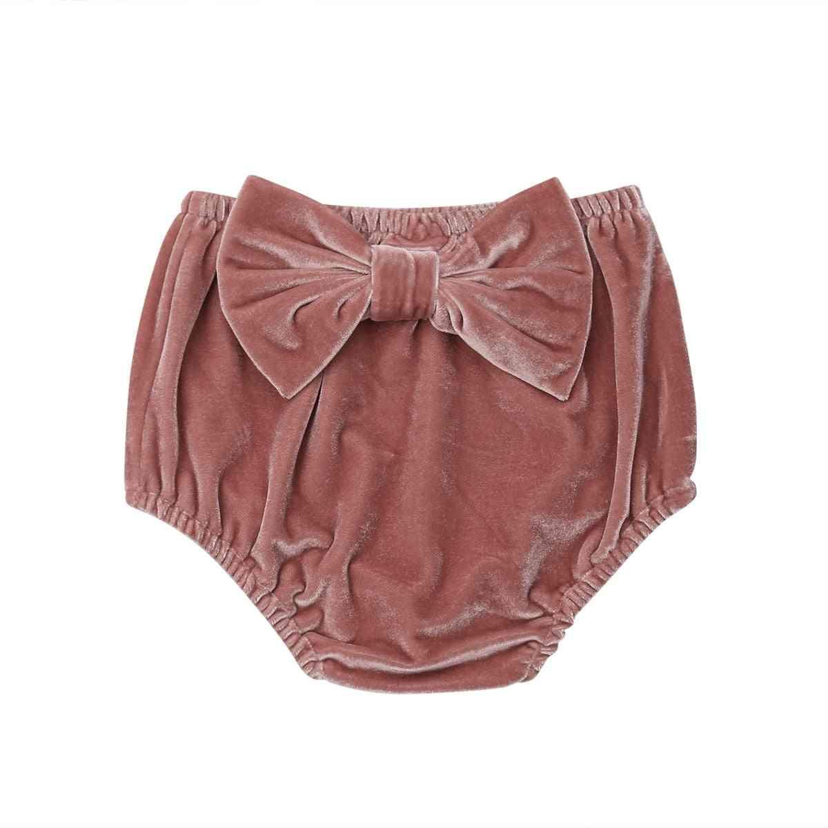 Baby Girl Velvet Shorts Princess Bow Bottoms Shorts Diaper Cover