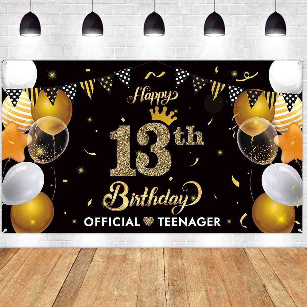 13th Happy Birthday Banner Backdrop Official Teenager Gold Party Decoration