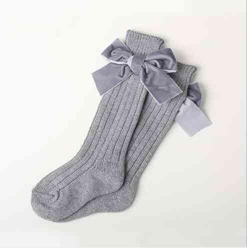 Socks Thick Line Knitting Tube Children's Socks Warm Cotton Fashion Velvet Bow Piled