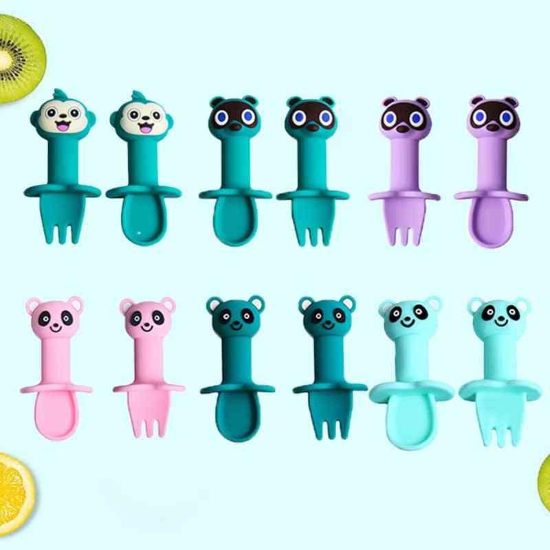 Cartoon Animal Silicone Spoon Fork Set Safe Infant Soft Heat-resistant Detachable Tableware