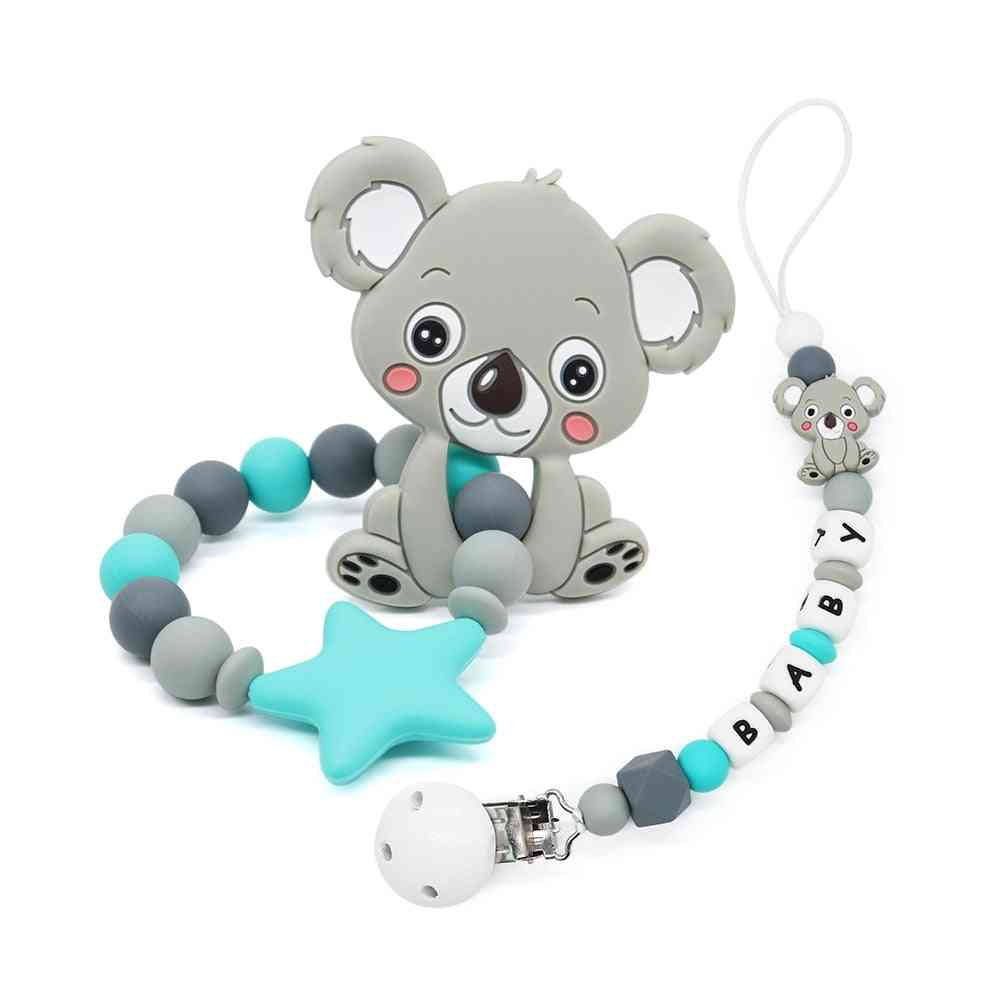 Shape Pacifier Clips Holder With Animal Teether Pendants For Baby Infant Chew Leash Nipple Holder
