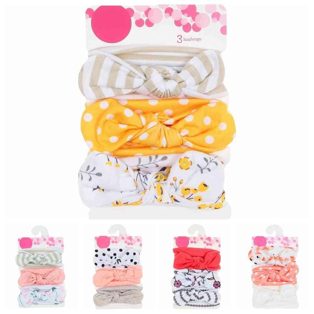 New Baby Cotton Blend Headbands Dot Printed Knot Hairbands Headwear Set Accessories