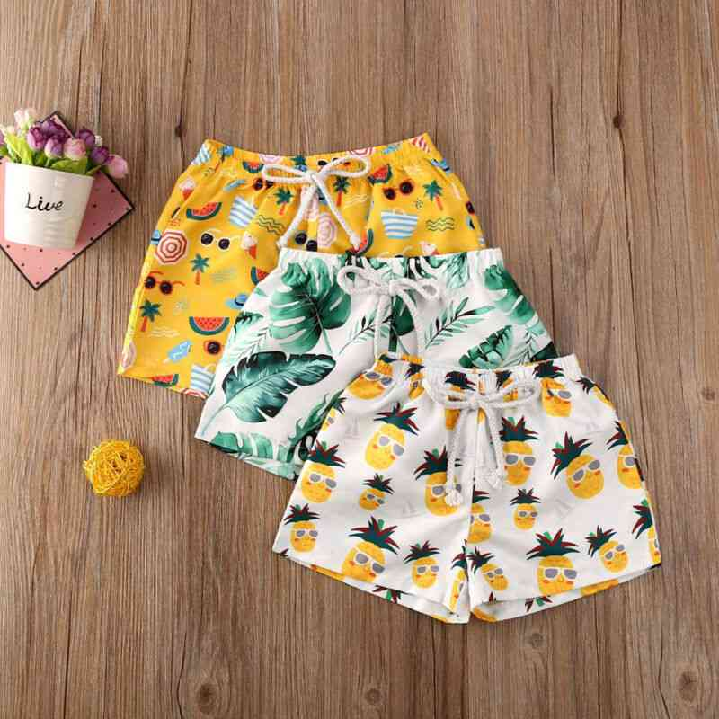 Toddler Tropical Print High Waist Shorts
