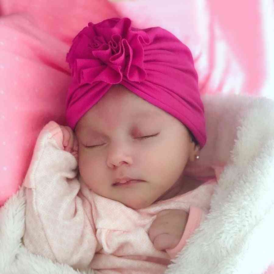 New Fashion Flower Baby Hat Newborn Elastic Turban 10 Colors Cotton Infant Beanie Cap