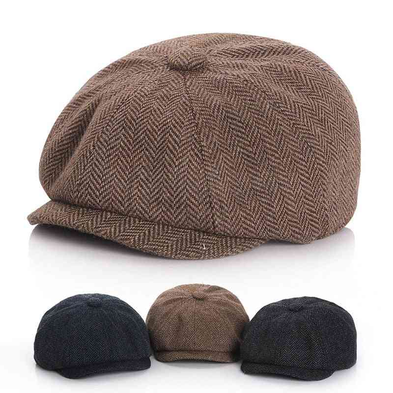 Winter Kids Hat For Girl Boy Beret Caps Octagonal Clothes Photography Props Child