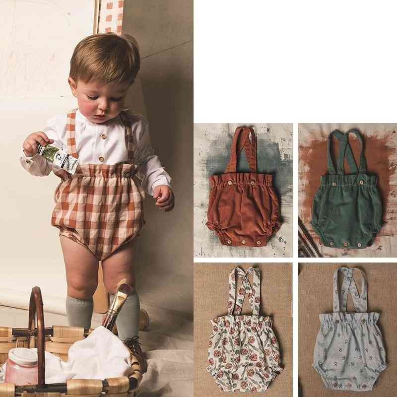 Baby Spring Short Overalls, Kids Bottoms Floral Pattern Toddler Clothes