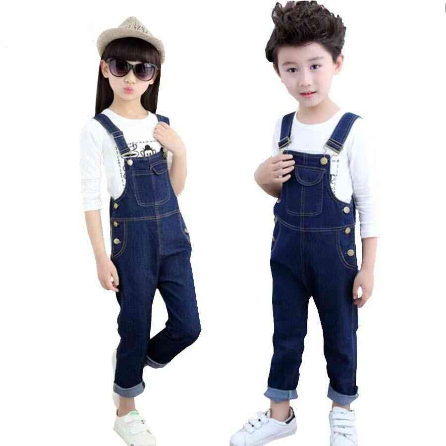 Kids Spring Cotton Jeans, Long Trousers, Suspenders
