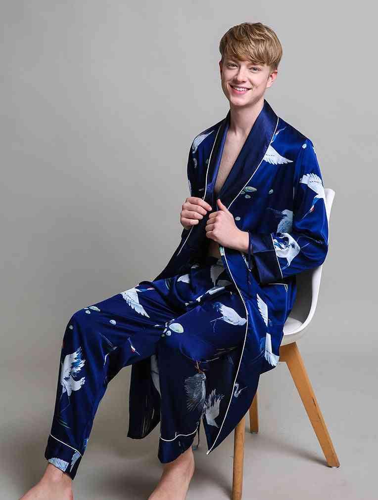 Silky Long Sleeve Robe And Long Pants Bathrobe Set