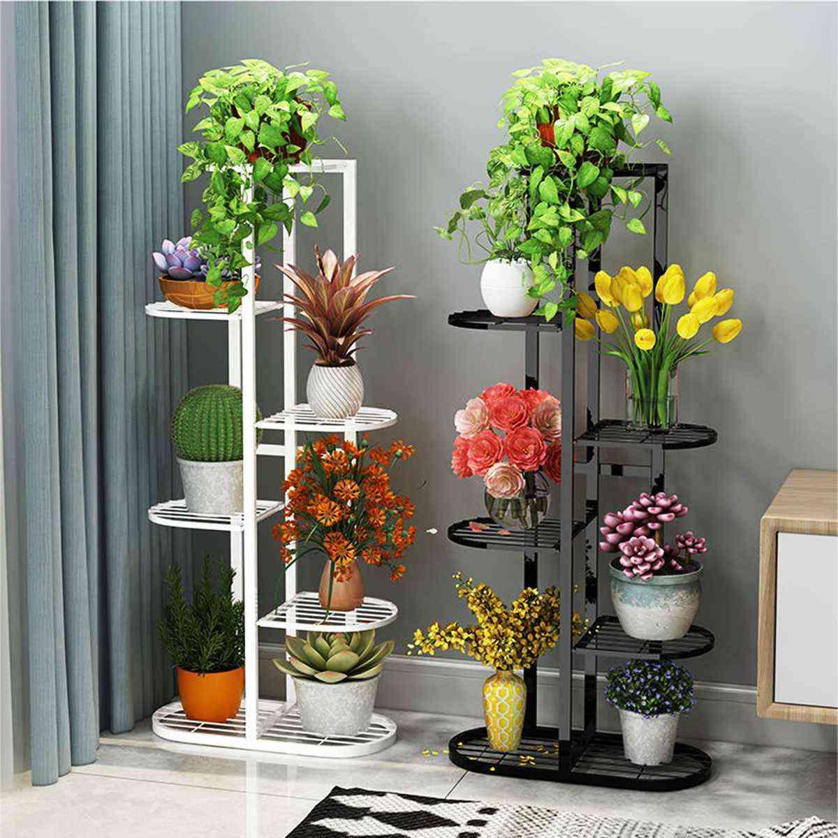Plant Shelves, Iron Potted, Flower Stand, Rack, Multiple Pot Holder Shelf, Indoor, Outdoor, Display Organizer