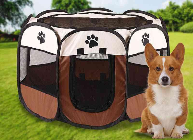 Pet Dog Playpen Tent, Crate Room, Foldable, Waterproof, Outdoor Two Door, Mesh Shade Cover Nest
