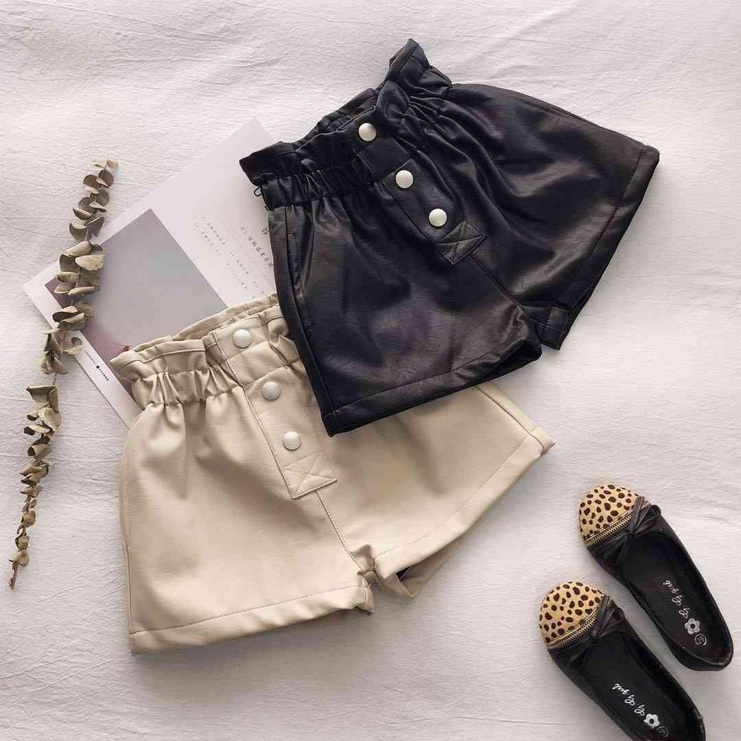 Winter Thick Warm Fleece Pu Leather Shorts Kids