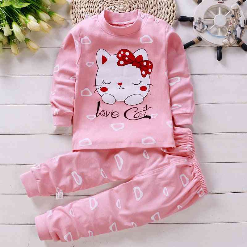 Children Long Sleeve Pajamas Suit, Baby/boys Cartoon Sleepwear Set