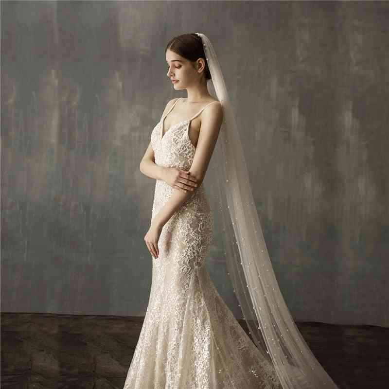 Pearls White Ivory Long Bridal Veil With Comb One Layer Cathedral