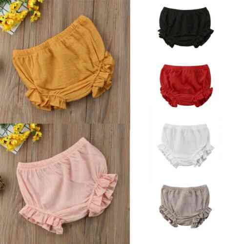 Toddler Infant Baby Kids Ruffles Shorts Bottoms Solid Pp Bloomers Cotton Nappy Diaper Covers
