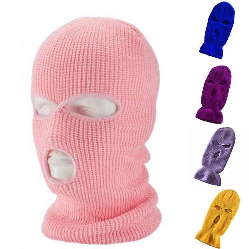 Full Face Cover Mask Three 3 Hole Balaclava Knit Hat Tactical Cs Winter Ski Cycling Beanie Warm
