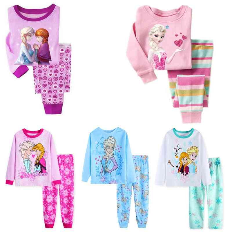 Princess Anna Elsa, Sleepwear Cartoon Pajamas Set- Long Sleeve Costume For