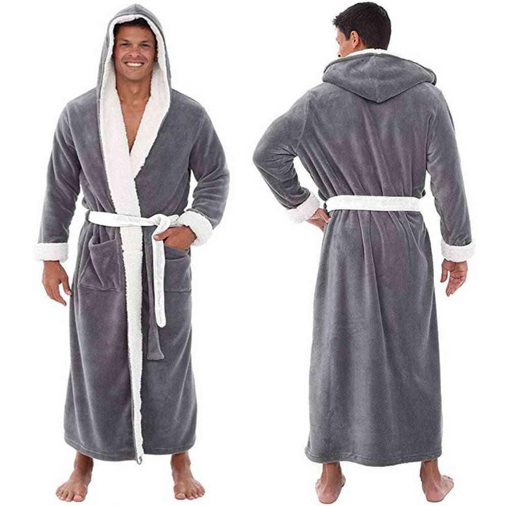 Men Winter Plus Size Long Coral Fleece Bathrobe Kimono Warm Flannel Cozy Night Sleepwear Pajamas