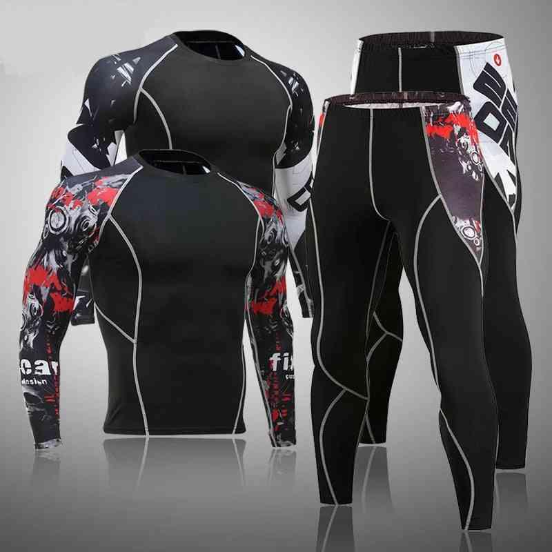 Men's Thermal Underwear Set Mma Tactics Leggings Solid Color Costume Compress Fitness Long Johns