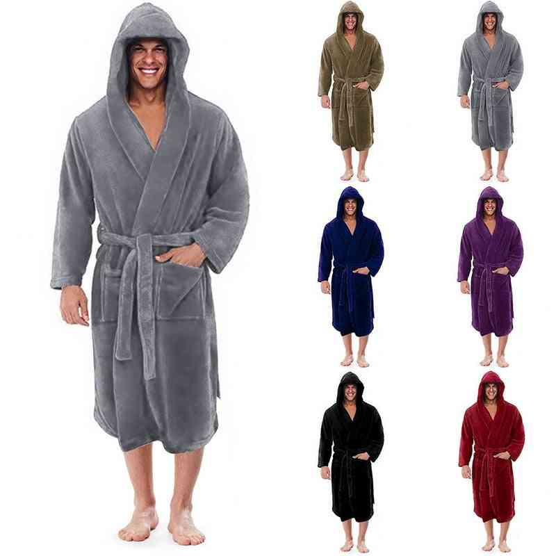 Men Winter Plus Size Long Coral Fleece Bathrobe Kimono Warm Flannel Cozy Night Sleepwear