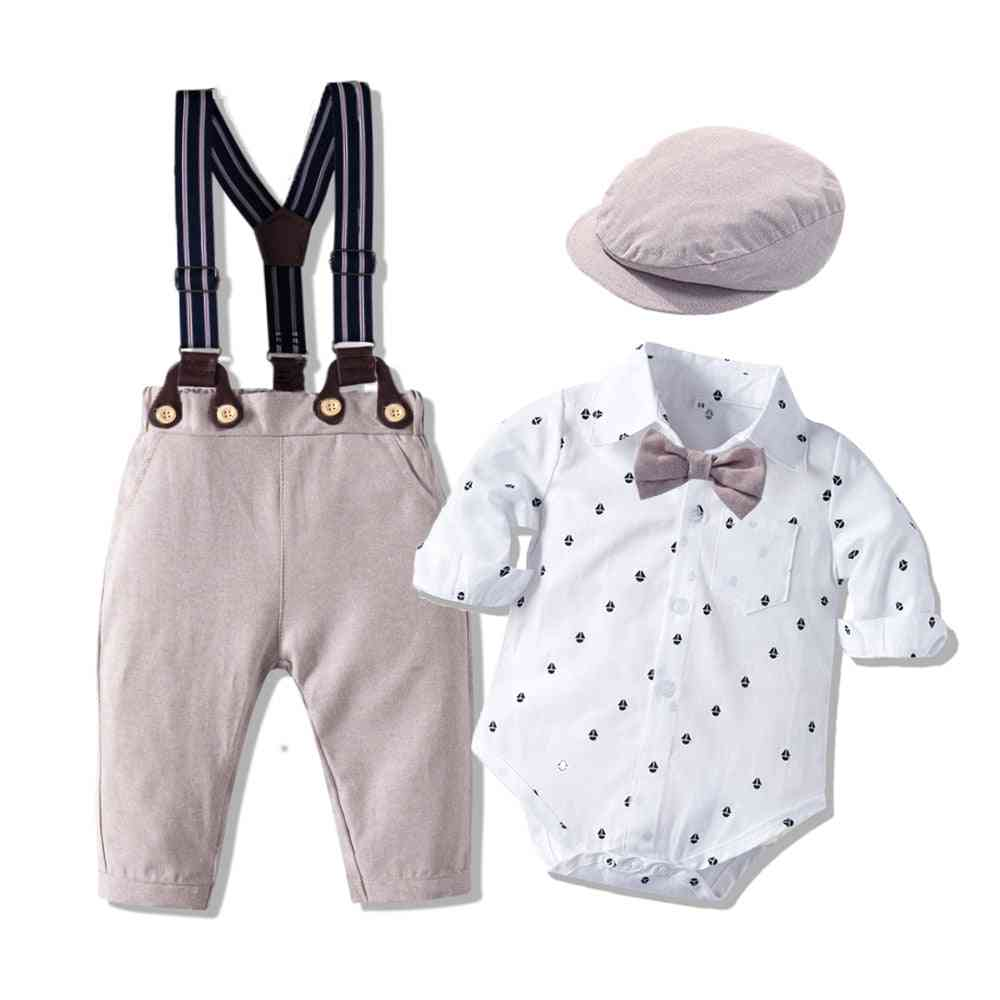 Romper Clothes With Bow Hat Gentleman Printed Spring Suit Cotton Toddler Kids Bodysuit