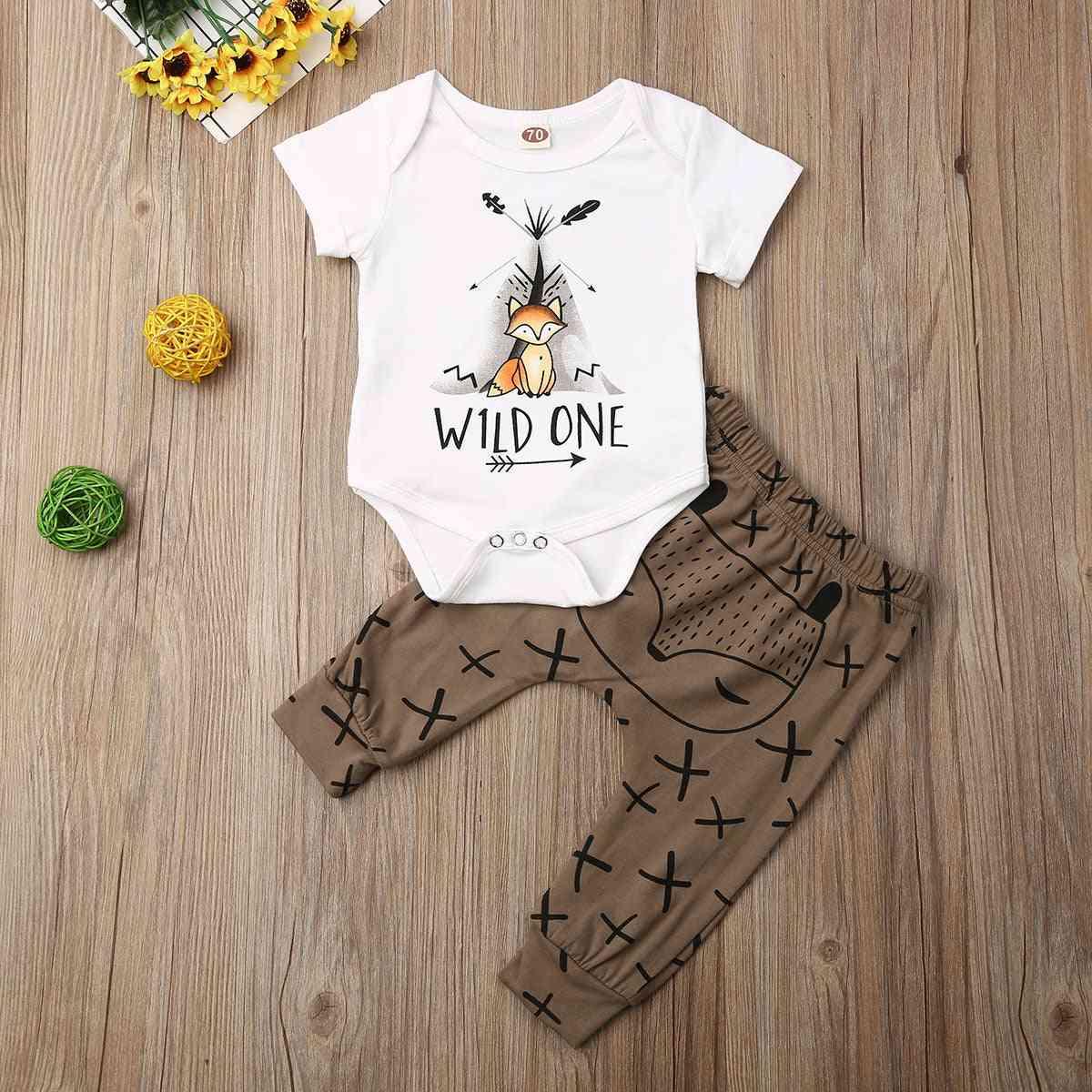Newborn Baby Clothes Cartoon Animals Print Short Sleeve