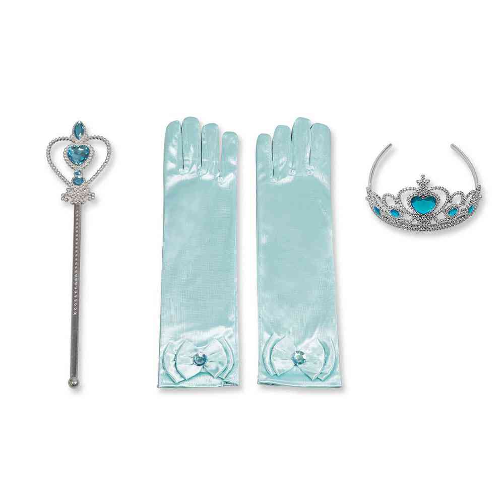 Princess Accessories Set Kids Party Cosplay Queen Magic Wand Tiara Gloves Wig Hair