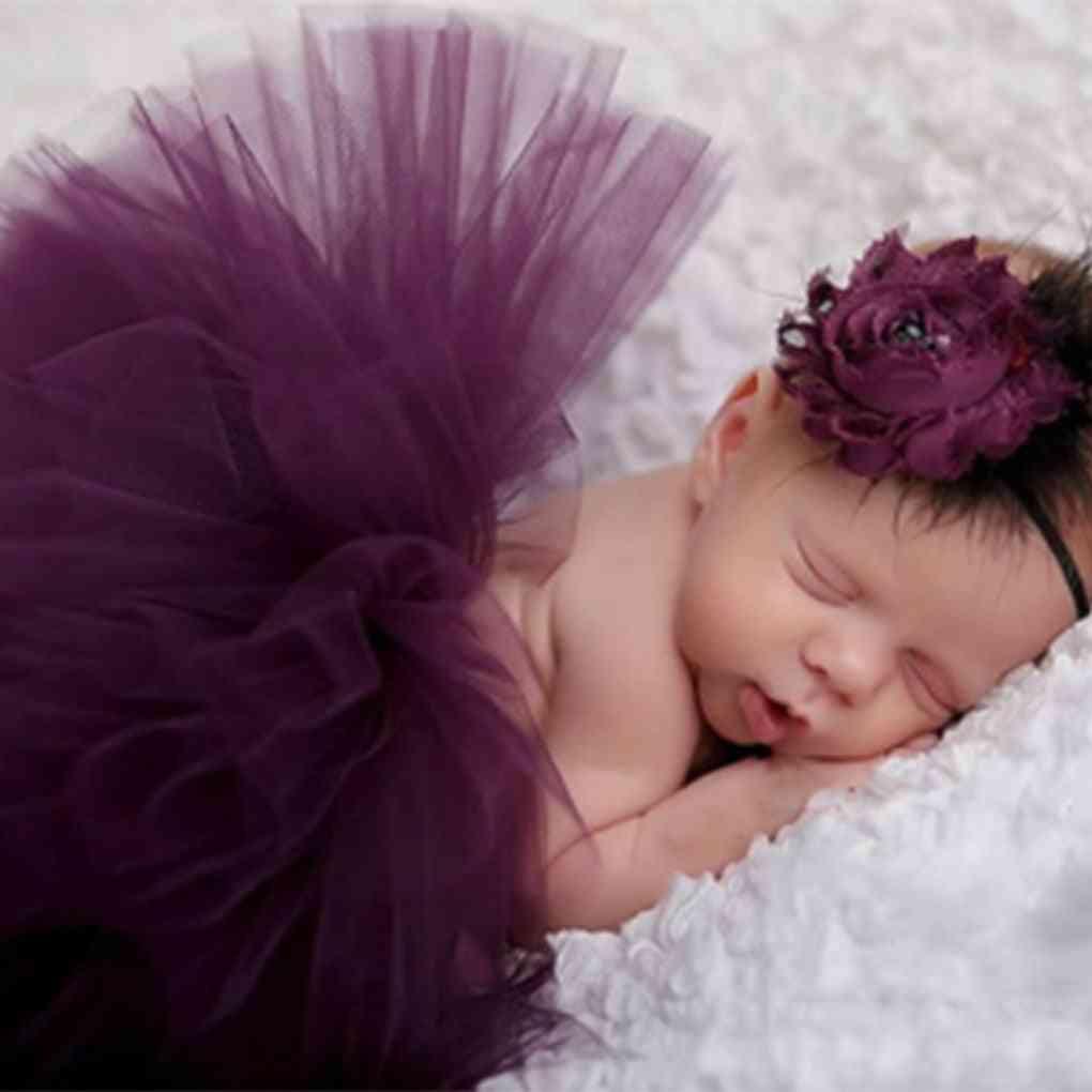 Newborn Photography Props Baby Princess Tutu Skirt Headband Photo Accessories