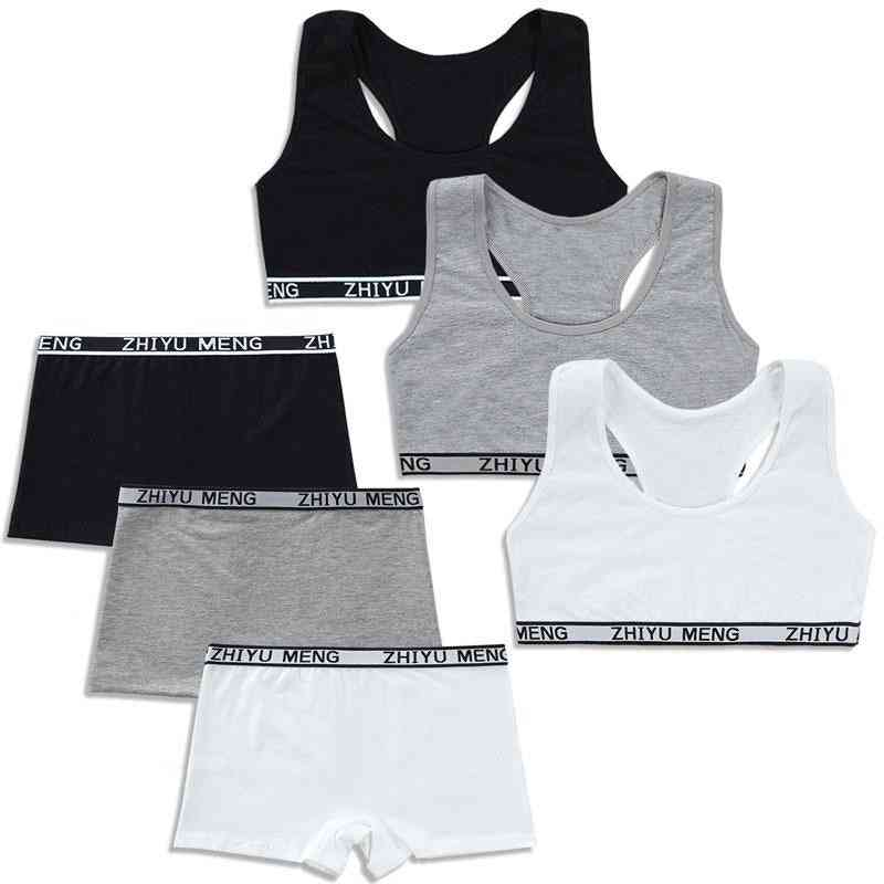Bars And Boxer Shorts Sets- Sport Underwear, Teenager Training Bra Set For
