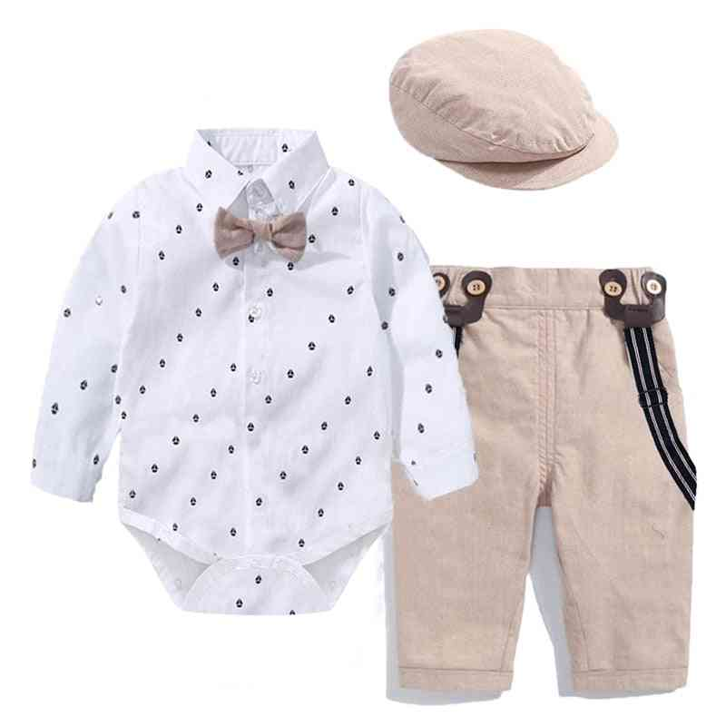 Romper Clothes Set, Baby Boy With Bow Hat Gentleman Striped Summer Suit
