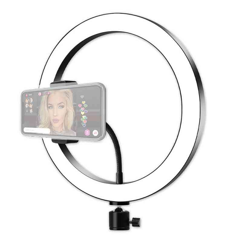 Large Led Ring Light For Camera, Selfie Lamp, Makeup Photographic Lighting, Phone Holder With Tripod Stand