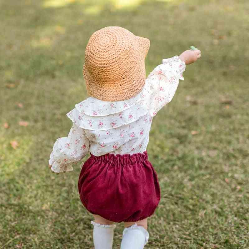 Floral Shirt Girl Cotton Ruffle