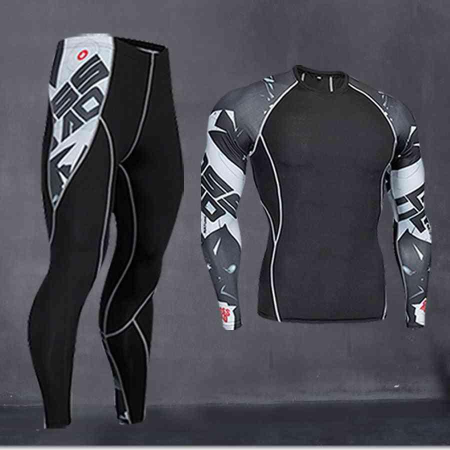 Men Running Shirt Training Pants Thermal Underwear (set 2)