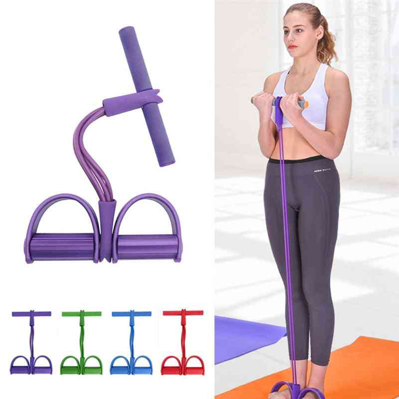 Fitness Gum 4 Tube Latex Pedal Exerciser Sit-up Pull Rope Expander Elastic Band