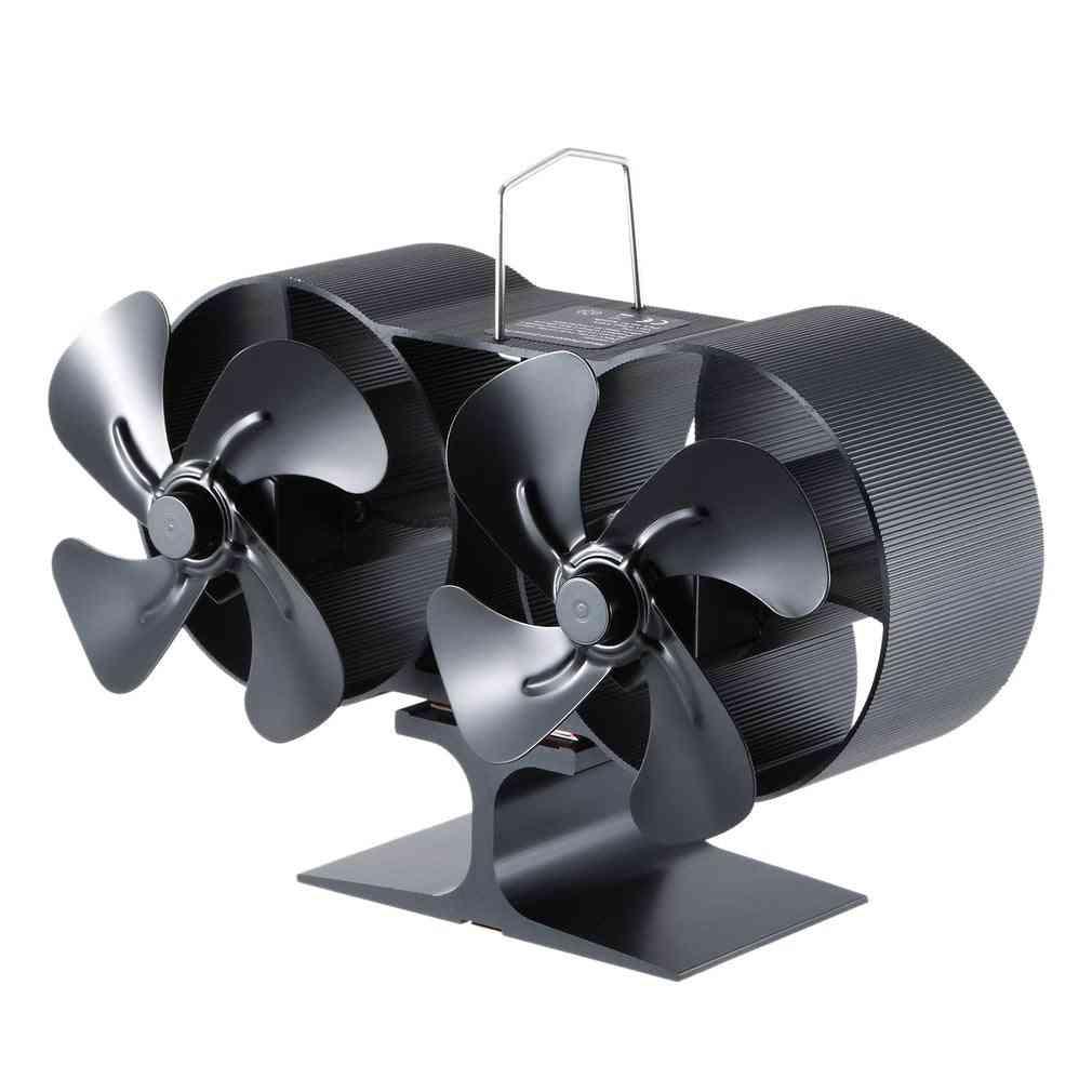 Heat Power Wind Fan Wall Stove Blower Double Head
