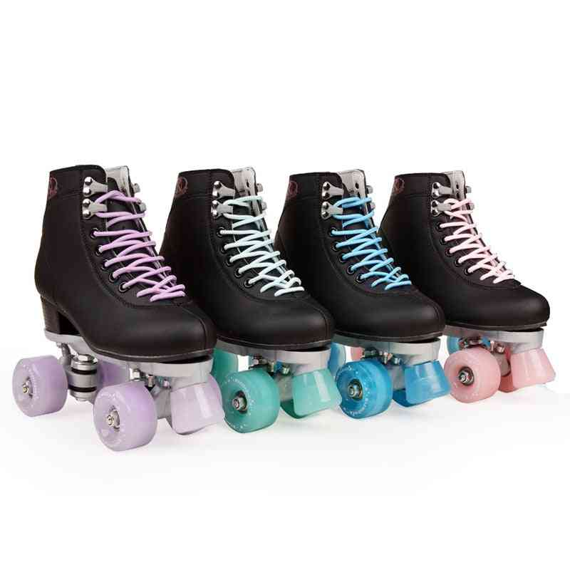 Artificial Leather Roller Skates Double Line Women Men Adult Two Line Shoes With Four Colors Pu Wheels