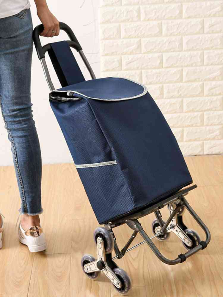 Collapsible Reusable Trolley Shopping Hand Truck, Waterproof Foldable Utility Cart