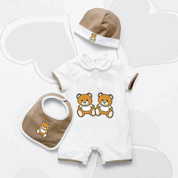 Summer Newborn Baby Clothes, Unisex Cartoon Cotton Romper And Hat Set