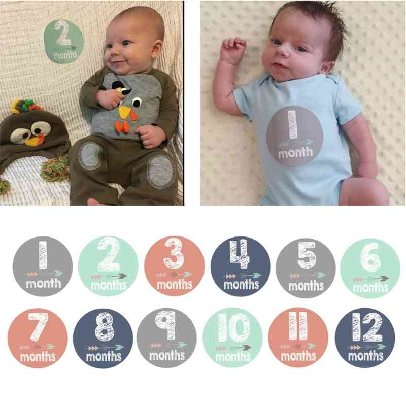 Baby Pregnant Women Monthly Photograph Stickers, Month Milestone Sticker